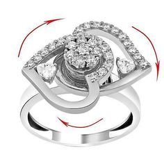 very funny Motion Dancing silver ring, Eye catcher ring, Eyecatcher ring spinning heart
