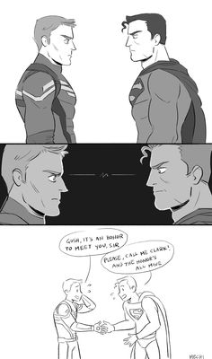 """mechinaries: what if cap met supes meanwhile,. - mechinaries: """" """" what if cap met supes """" meanwhile, somewhere else: batman: you can not imagine the tragedy which has shaped me bucky: OH YOU WANNA PLAY THIS GAME """" Avengers Humor, Marvel Avengers, Memes Marvel, Dc Memes, Marvel Funny, Marvel Dc Comics, Fandom Crossover, Cartoon Crossovers, Fantastic Four"""