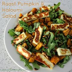 Lime & Mortar: Recipe: Roast Pumpkin & Haloumi Salad add lemon juice and replace rocket with spinach and eschallots Veggie Recipes, Vegetarian Recipes, Dinner Recipes, Cooking Recipes, Healthy Recipes, Necterine Recipes, Chard Recipes, Alkaline Recipes, Paleo Food