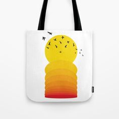 Sunset Yellow to Orange Birds Tote Bag by diana_ioana Orange Bird, Paper Bags, Beach Look, Poplin Fabric, Beach Towel, Reuse, Diana, Stress, Just For You