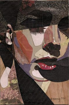 Artist: A. Young, 2010 {contemporary female face portrait collage}