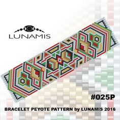 Bracelet peyote patterns made with size 11/0 Miyuki Delica seed beads Width: 1.64 (31 columns) Length: 6.3 Colors: 6  Patterns include: -