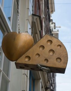 Heart, Cheese and Mouse Sign. Pub Signs, Shop Signs, Blade Sign, Metal Signage, Sign Board Design, Old Pub, Cheese Shop, Signage Design, Business Signs