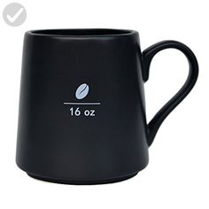 Mecraft 16 Ounce Black Ceramic Coffee Bean Mug For Men and Women,Diy For Decoration,Giftbox - Refine your workspace (*Amazon Partner-Link)