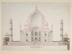 Drawing - Fifteen drawings of Mughal architecture and ornamental detail on Mughal monuments at Agra. - Victoria & Albert Museum - Search the Collections Mughal Architecture, Architecture Drawings, Classic Architecture, Ancient Architecture, Interior Architecture, Architectural Section, Architectural Features, Taj Mahal, Mughal Paintings