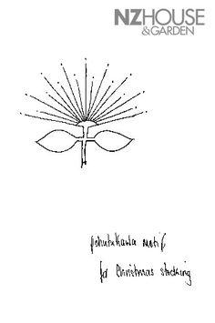 Embroidery pattern for pohutukawa ( NZ Christmas tree) Pansy Tattoo, I Tattoo, Christmas Embroidery Patterns, Embroidery Designs, Christmas Art, Christmas Decorations, Hawaiian Pattern, New Zealand Art, Kiwiana