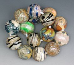 SJC Lampwork 15 handmade silver glass & dichroic round beads ~SRA~ USA~ #SJCLampwork #Lampwork