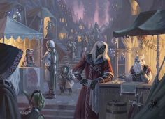 A major drow market. Menzoberranzan comes to mind, but this picture could just as easily show the drow and their slaves shopping in any drow city.