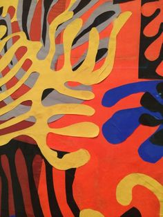 Fab. photo showing how Henri Matisse 's cut-outs (paper collage)  where precisely pasted to the paper.