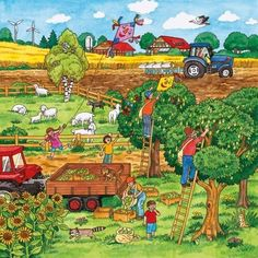 This illustration will be featured on the back cover of this March's Highlights for Children . Writing Pictures, Picture Writing Prompts, Picture Comprehension, Picture Composition, Farm Theme, Picture Description, Therapy Activities, Eyfs, English Lessons