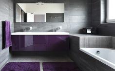 Smart And Creative Smart And Creative Purple And Grey Bathroom Ideas Pop Out Purple Modern Bathrooms Lonny - Osirix Interior Purple Modern Bathrooms, Modern Luxury Bathroom, Contemporary Bathroom Designs, Bathroom Design Luxury, Modern Bathroom Decor, Grey Bathrooms, Bathroom Styling, Small Bathroom, Bathroom Ideas