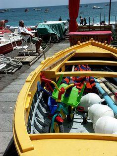 Boat on the beach in Positano, province of Salerno , Campania