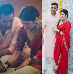 Zaheer Khan and Sagarika Ghatge got married on Nov They have married simply in a registrar office.They have organized a wedding party to close friends, family.Here are the wedding highlights of Zaheer Khan and Sagarika Ghatge. Engagement Dress For Bride, Engagement Saree, Indian Bridal Outfits, Indian Designer Outfits, Sabyasachi Sarees, Indian Sarees, Pakistani Dresses, Wedding Looks, Bridal Looks