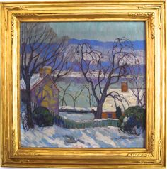 """Fern Isabel Kuns Coppedge (1883-1951), """"Landscape of Bucks County Pennsylvania in the Snow,"""" c. 1935, oil on canvas."""