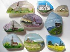 Original acrylic miniature art - Church paintings on sea glass & sea pottery