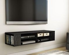Black TV Stand Console Modern Furniture Wall Mount Game Center Storage Cabinet - EXCLUSIVE DEAL! BUY NOW ONLY $195.0