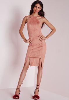 Missguided - Faux Suede Double Strap Front Split Midi Dress Pink 51.00