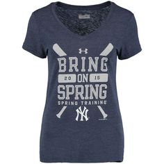 New York Yankees Under Armour Women's Tri-Blend 2015 Spring Training V-Neck T-Shirt - Navy