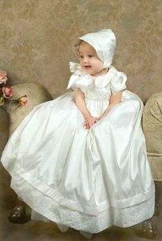 "taffeta basinette covers | Kids World ""Lace Cut-Out"" Christening Dress & Bonnet (Sizes 6M ..."