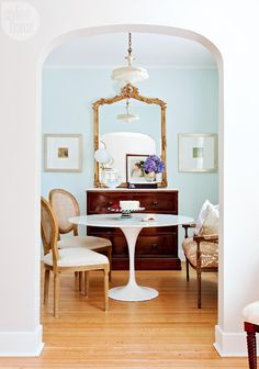 Parisian-inspired dining room - A mix of old and new gives this…