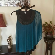 Shimmering one sleeve top NWOT - Tank with sheer shimmering half cove. Bare your arm for mystery. This shimmering embellished top is breezy and comfortable. Black tank underneath with glittery sheer cover. Maurices Tops Blouses
