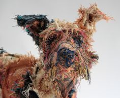 Barbara Franc sculptor using recycled metals including tin and copper to make unique artworks inspired by animals and the human form. Paper Mache Sculpture, Dog Sculpture, Animal Sculptures, Fabric Animals, Textiles, Assemblage Art, Recycled Art, Fabric Art, Scrap Fabric