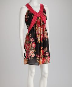Take a look at this Black & Red Floral Sleeveless Dress by Lazy Daisy on #zulily today!