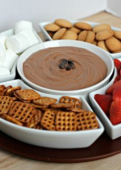 Brownie Batter Dip. Next time I'm asked to bring a fruit tray to a party I will make this.