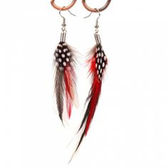 Red Feather White Spots Earrings | favwish - Jewelry on ArtFire