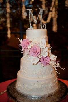 Lace pink and white wedding cake