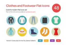 Clothes and Footwear Flat Icons Set by roundicons.com on @creativemarket