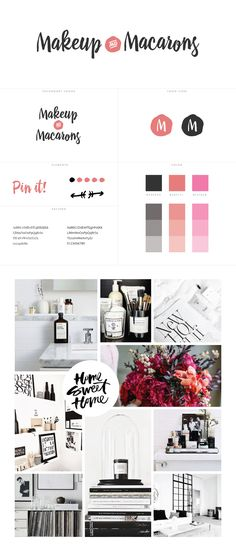 Makeup and Macarons Blog design for WordPress using a premade blog theme from White Oak Creative with custom branding, predominately black-white,grey with pops of pinks