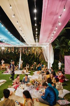 This Bali Wedding had a Whimsical Picnic-themed Sangeet & We're SOLD! Pastel Wedding Theme, Indian Wedding Theme, Outdoor Indian Wedding, Desi Wedding Decor, Wedding Hall Decorations, Luxury Wedding Decor, Bali Wedding, Forest Wedding, Woodland Wedding