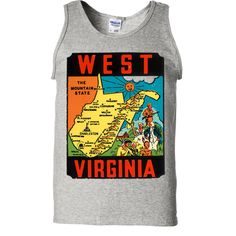 Vintage State Sticker West Virginia Asst Colors Tank Top - California Republic Clothes