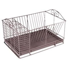 "Open metalwork dish rack with scrolling details.   Product: Dish rackConstruction Material: MetalColor: Antique bronzeDimensions: 9.84"" H x 16.54"" W x 11.02"" D Cleaning and Care: Wipe with a damp cloth"