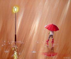 paintings of umbrellas, dancing in the rain, red umbrella, umbrella art, wellies and rain, muddy puddles