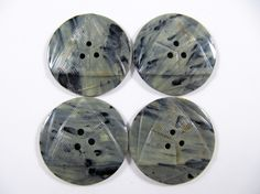 Vintage Lot of 4  Large Art-Deco Marbled Gray Carved Bakelite  / Celluloid  Buttons * 34 mm *** # B-208 by TheTreasureBoxOrna on Etsy