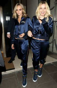 31 photos of Cara Delevingne's style moments from Suicide Squad's promo tour: Cara and Margot Robbie in matching track suits