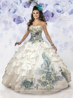 I know it is not a wedding dress but I love the fact that it has color details. Wish I could find more wedding dresses like this