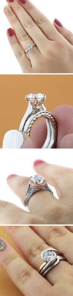 Two tone rings we love! Top to bottom: Terwilliger Engagement Ring, Burnside Wedding Set, Kat Antique Engagement Ring, Hoyt Wedding Set