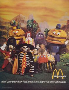 """""""All Of Your Friends In McDonaldland Hope You Enjoy The Show!"""" The very last page of the 1974 Ice Capades program. McDonald's was a part/sponsor of the 1974 show."""