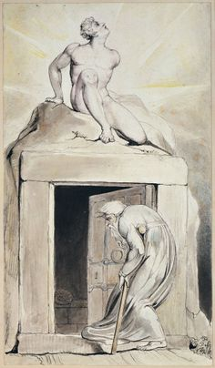 """William Blake: 'Death's Door', from Robert Blair's """"The Grave"""", 1805, object 16. Pen, ink and water colors over traces of pencil on wove paper"""
