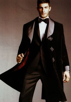 ♂ Masculine and elegance gentleman style The count of Monte Cristo look via Brioni black winter coat with red lined