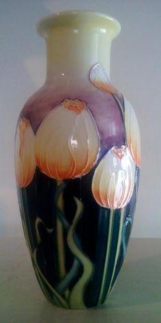 English Porcelain - Bold Old Tuptonware orange tulips tube line decorated vase-style a la Moorcroft. for sale in Durban