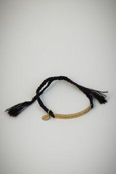 "Black bracelet with golden square pendant ""Believe and you will see"". Black Bracelets, Black Square, Pendant, Leather, Jewelry, Jewellery Making, Jewerly, Jewelery, Pendants"