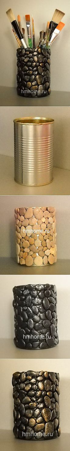 Pebble craft: DIY vase or container. Tin Can Crafts, Fun Crafts, Diy And Crafts, Arts And Crafts, Creation Deco, Ideias Diy, Stone Crafts, Pebble Art, Stone Art