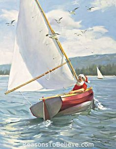 "Christmas Sail - canvas giclee print. Christmas Sail. Santa Sailing Holiday Giclee. This Santa Claus print uses the giclee printing process (fade resistant archival inks and special printers) to allow our prints to look as close to Tom Brownings original oil painting as possible. The canvas print is then stretched and mounted to an archival quality board, 1/4 inch thick, and measures 11"" X 14""."