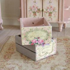 Dollhouse Miniature, Pink Wooden Crate, Rose Print, Distressed Wood, Wood Box, French Home Decor, Shabby Cottage Chic, 1:12th Scale