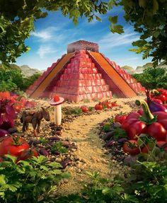 Increíbles paisajes hechos con comida por Carl Warner