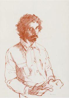 thunderstruck9:  John Byrne (British, b. 1940), Self Portrait. Sanguine, 42 x 30 cm.